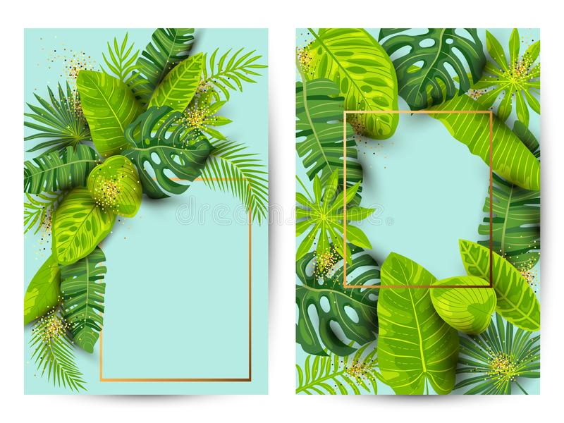 Green summer tropical background set with exotic leaves vector illustration