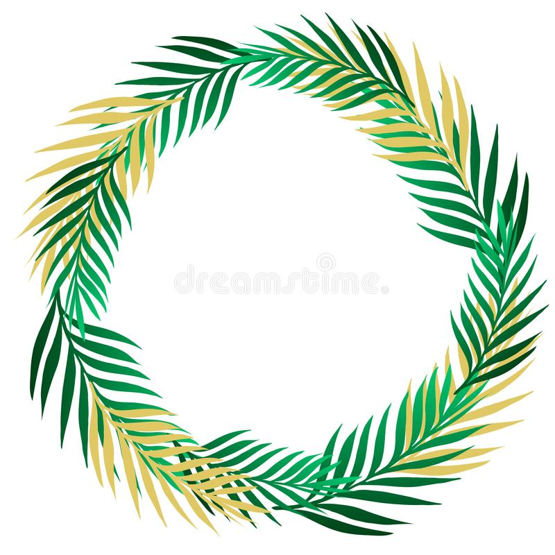 Green summer tropical border frame wreath with exotic jungle palm tree. Isolated vector design element on light beige background. stock illustration