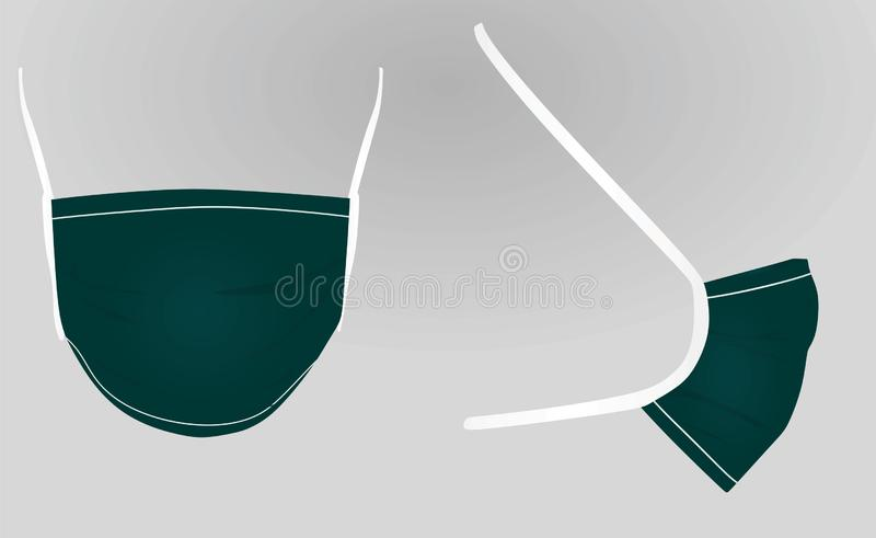 Green surgery mask. Vector illustration royalty free illustration