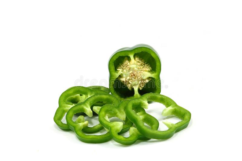 Green sweet peppers stock images