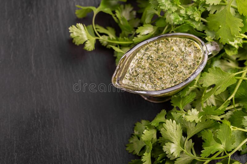Green sweet and sour homemade sauce with cilentro stock image