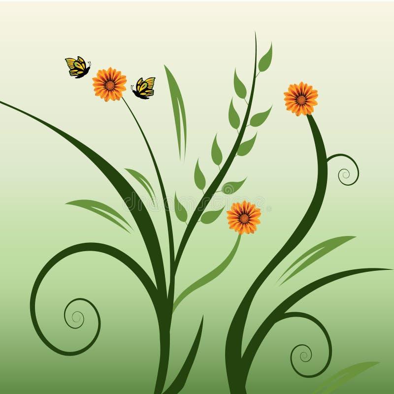 Green swirls. Pretty green swirls and orange flowers on a green background stock illustration