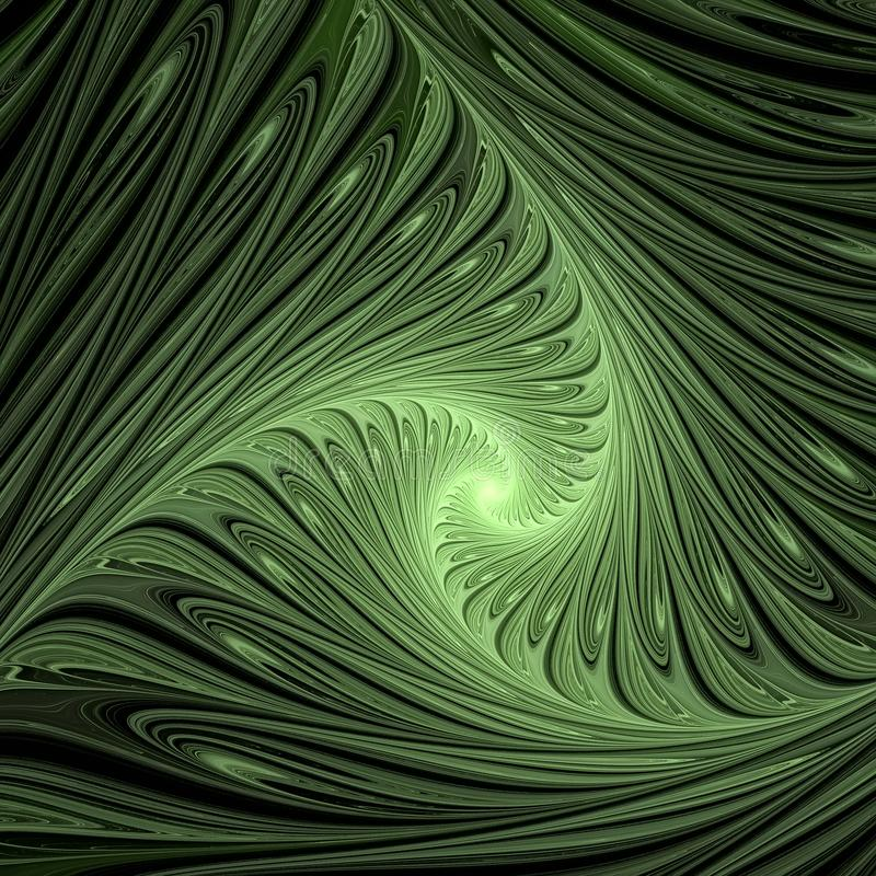Green swirls. Abstract multicolored illustration on a dark background royalty free illustration