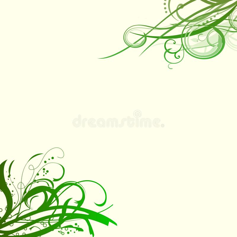 Green swirls background. A light yellow background with big shaded green swirls in corners vector illustration