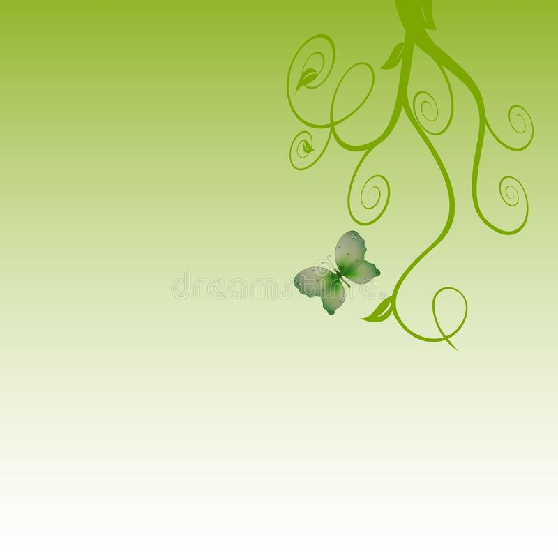Green swirls butterfly background. A graduated green background with big swirls and a butterfly royalty free illustration