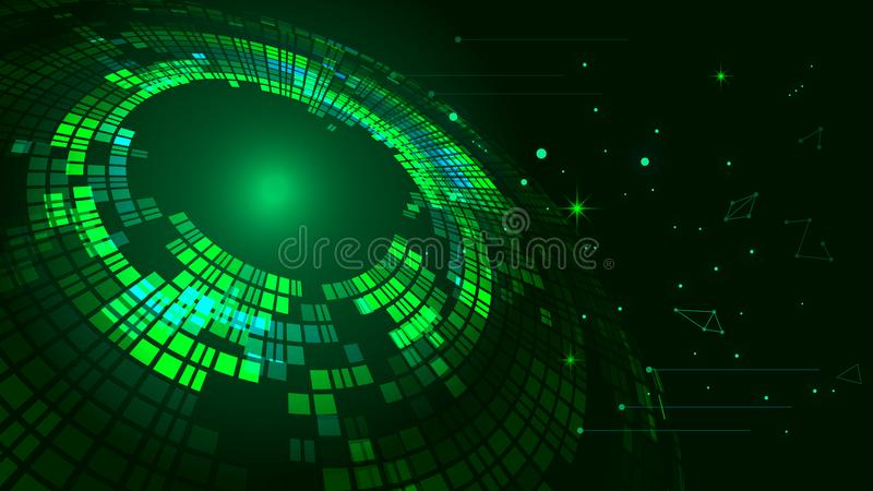 Green swirls form the background of luminescence technology. Green technology effect of the vector elements vector illustration