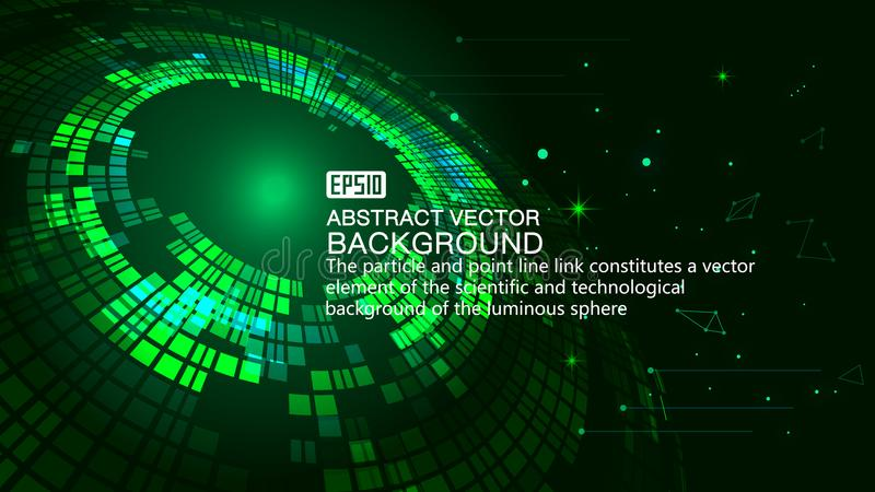 Green swirls form the background of luminescence technology. Green technology effect of the vector elements royalty free illustration