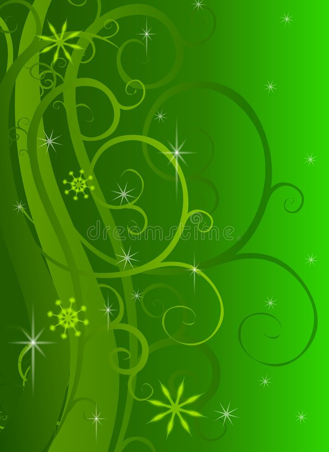 Green Swirls Sparkles Background. A background illustration featuring green swirls and sparkles with a semi-light Christmas theme vector illustration