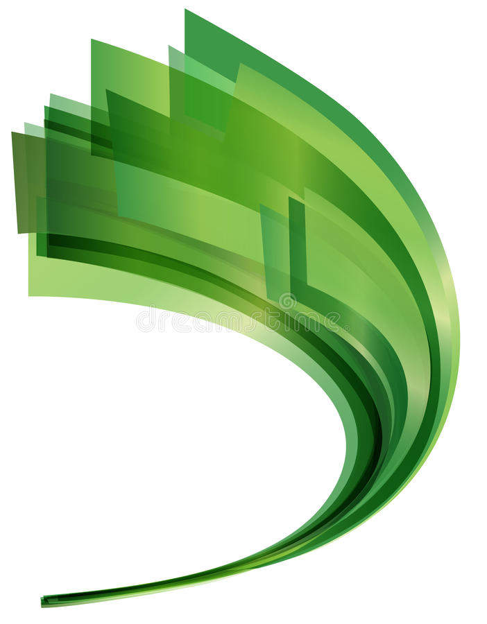 Green Swoosh. An abstract green swoosh made of curved vectors