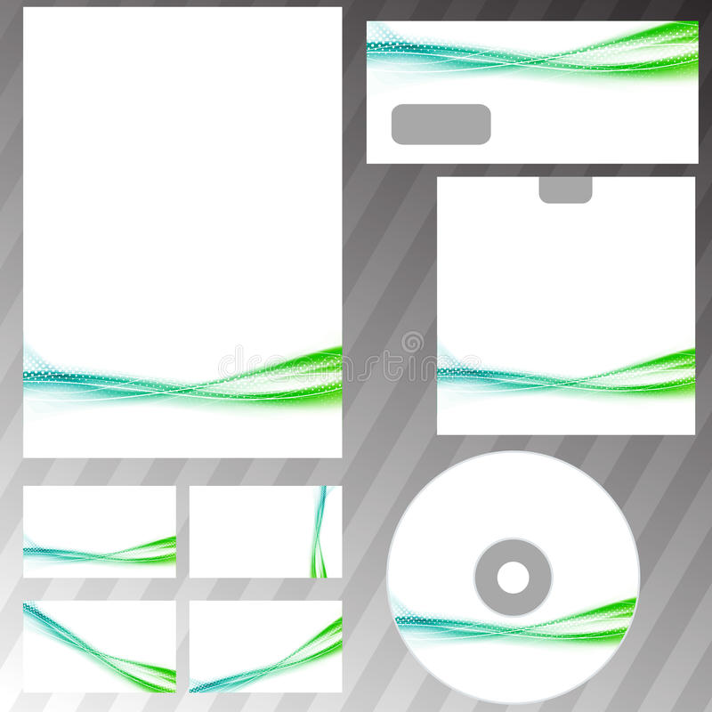 Green swoosh liquid wave stationery set template. Vector illustration vector illustration