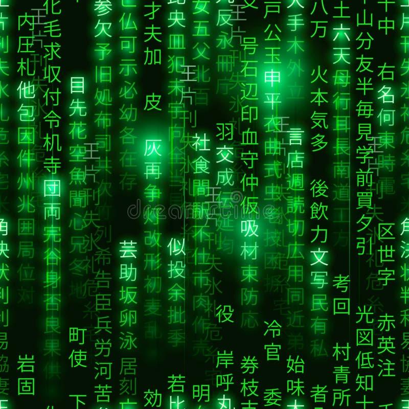 Green symbols of matrix binary code on black background, digital seamless pattern vector illustration
