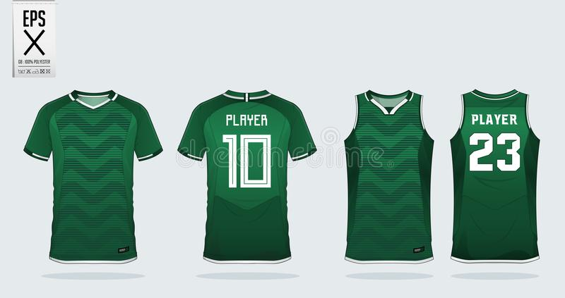 Green t-shirt sport design template for soccer jersey, football kit and tank top for basketball jersey. Sport uniform. Green t-shirt sport design template for stock illustration