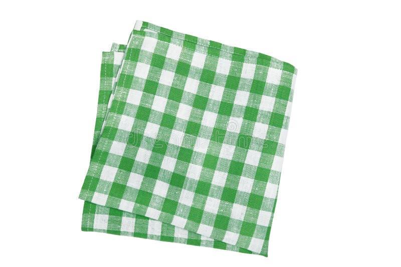 Green table napkin on white background stock image