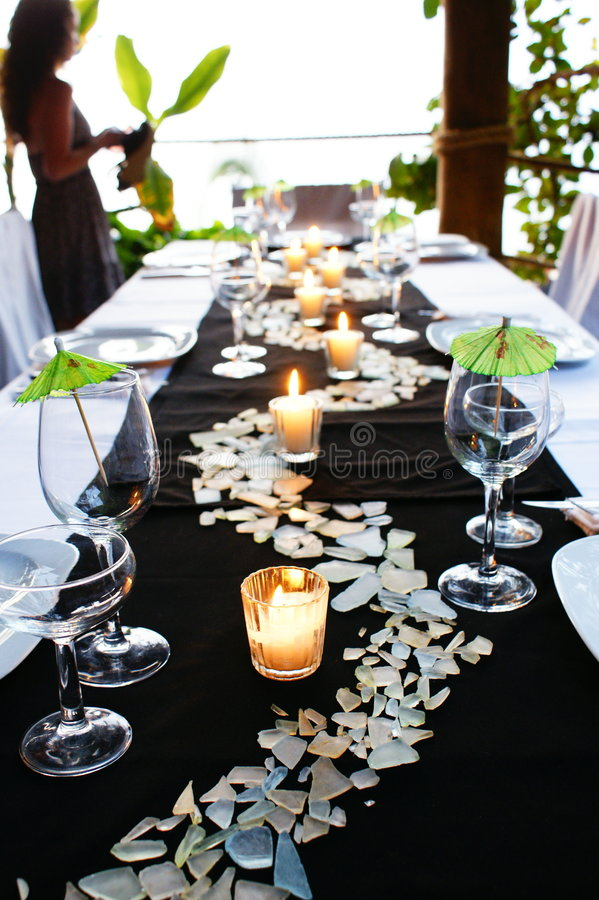Green Table setting stock image. Image of caterer, plates - 7961007
