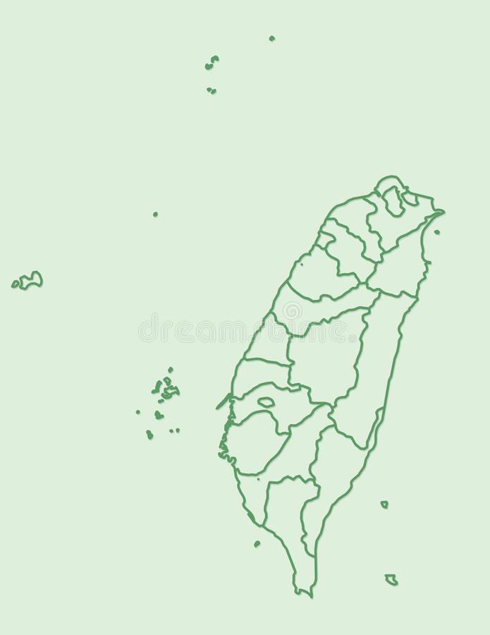 Green Taiwan map with border lines of different provinces on light background vector illustration. Green Taiwan map with border lines of different provinces on stock illustration