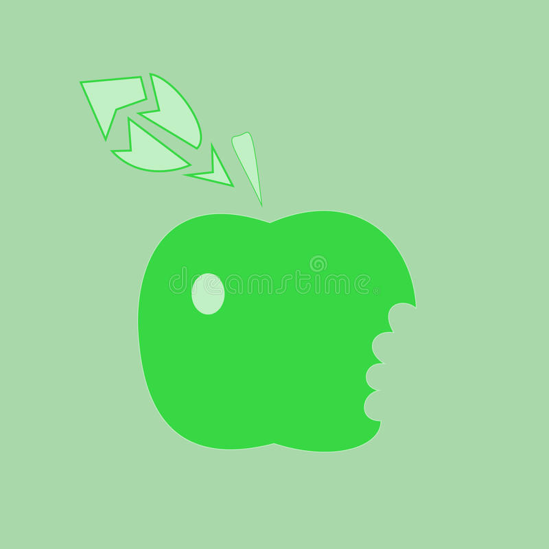 Download The Green Taken A Bite Apple Stock Vector - Image: 10831082