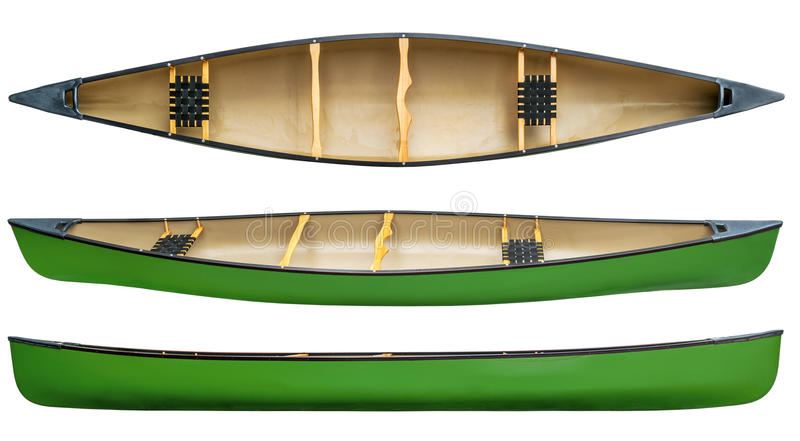 Green tandem canoe isolated royalty free stock photos