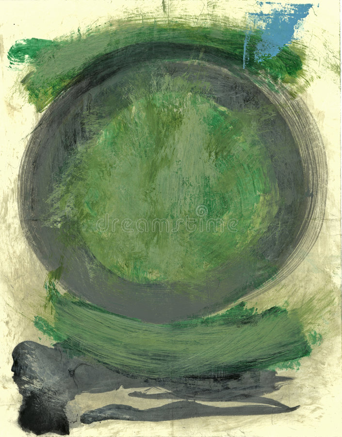 Green Tao Enso Circle Painting royalty free illustration