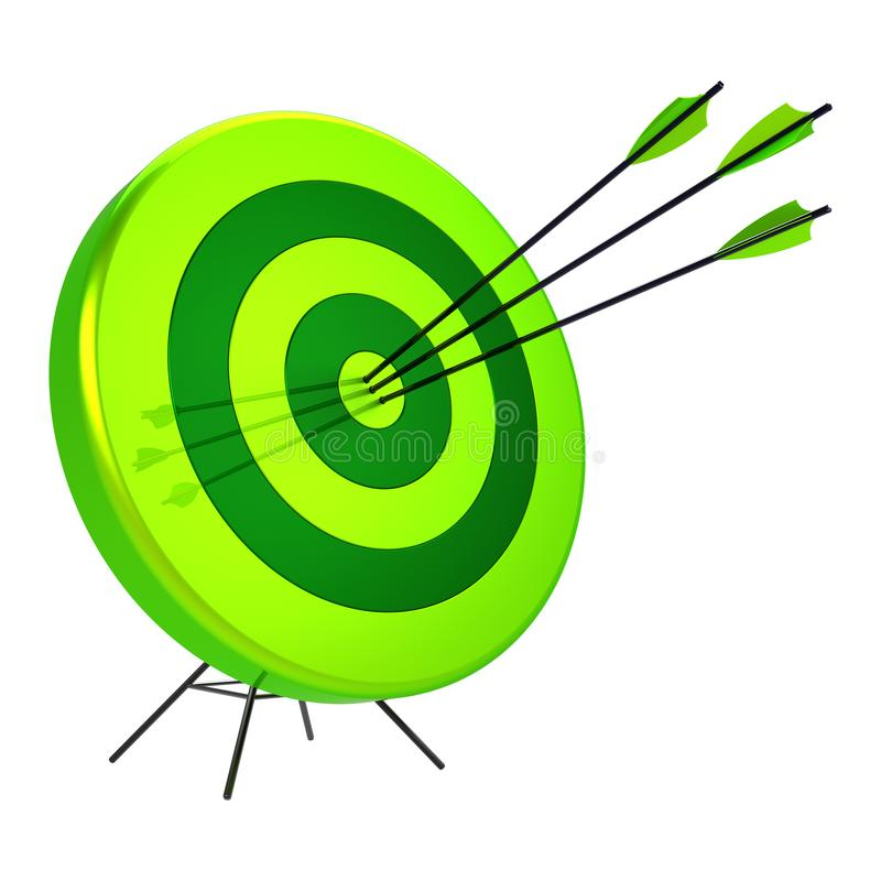 Green target hit in the center by three arrows bull`s-eye vector illustration