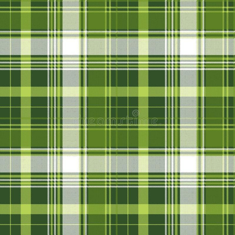 Green tartan pixel check plaid seamless pattern vector illustration