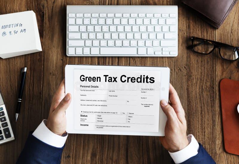 Green Tax Credits Investment Saving Debates Concept. Green Tax Credits Investment Saving Concept royalty free stock photo