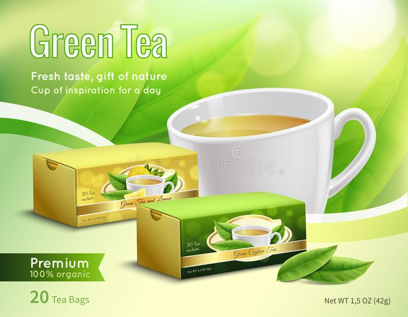 Green Tea Advertising Realistic Composition. Green tea advertising composition on blurred background with carton packaging, leaves, cup with drink realistic vector illustration