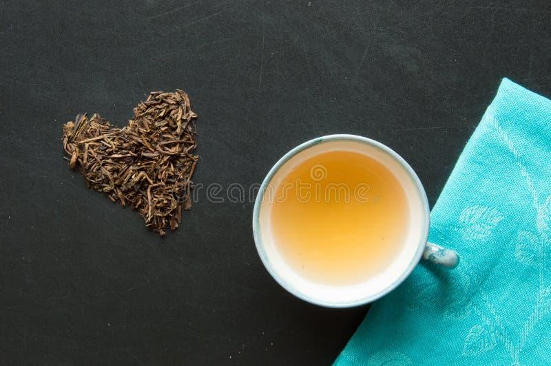Green tea bancha stock photos