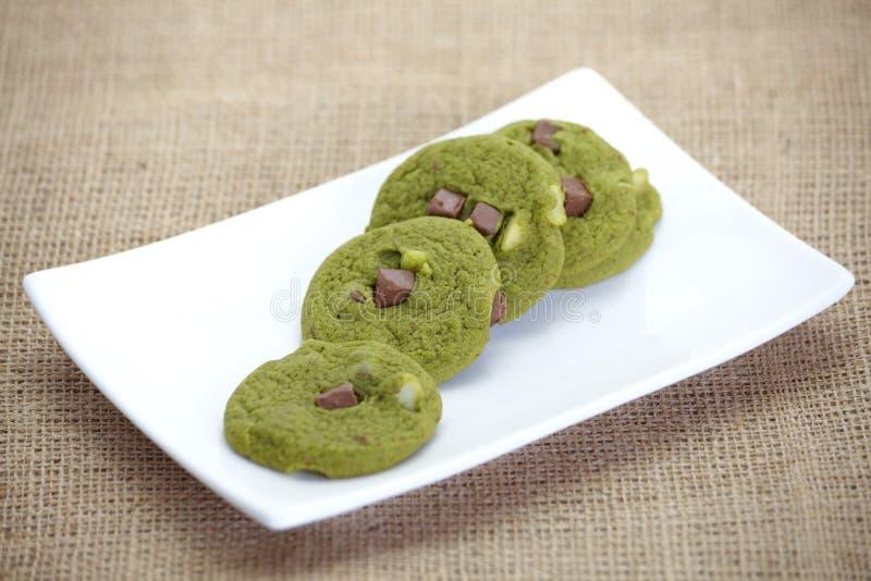 Green tea biscuits. With tea flavor stock image