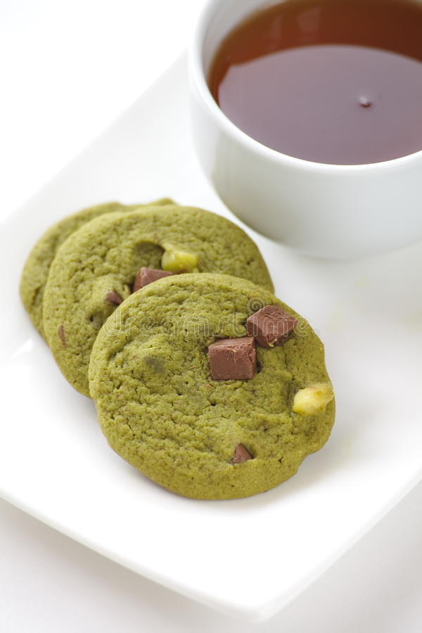 Green tea biscuits. With tea flavor royalty free stock photos