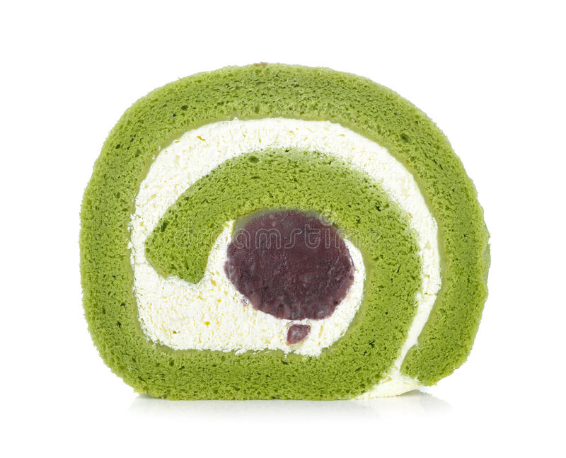 Green tea cake roll stock images