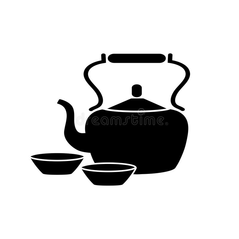 Green tea ceramic pot and cups icon. For Japanese cuisine or sushi bar and restaurant menu design template. Vector isolated symbol of teapot and Japan or vector illustration