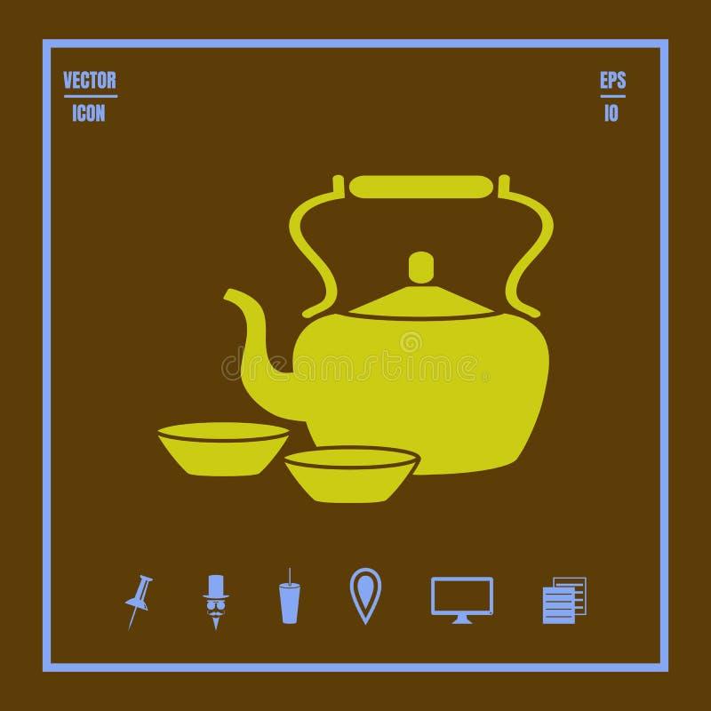 Green tea ceramic pot and cups icon stock illustration