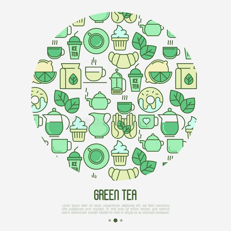 Green tea ceremony concept vector illustration
