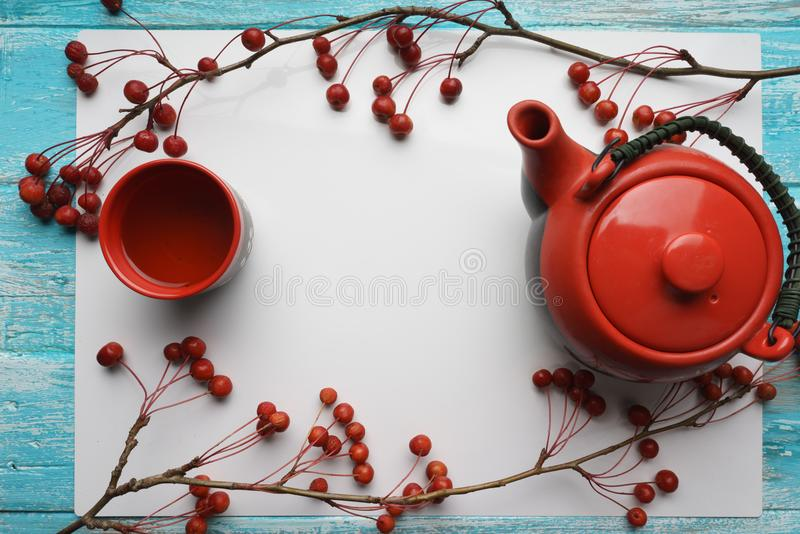 Green tea, close-up, top view Teapot, a Cup of tea, and red packing bag on white background vector illustration