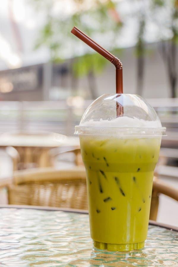 Green tea. Cold milk greea tea at coffee shop royalty free stock photos