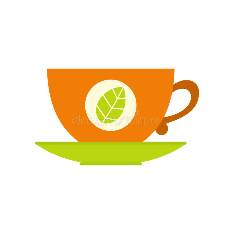 Green tea cup flat icon royalty free illustration