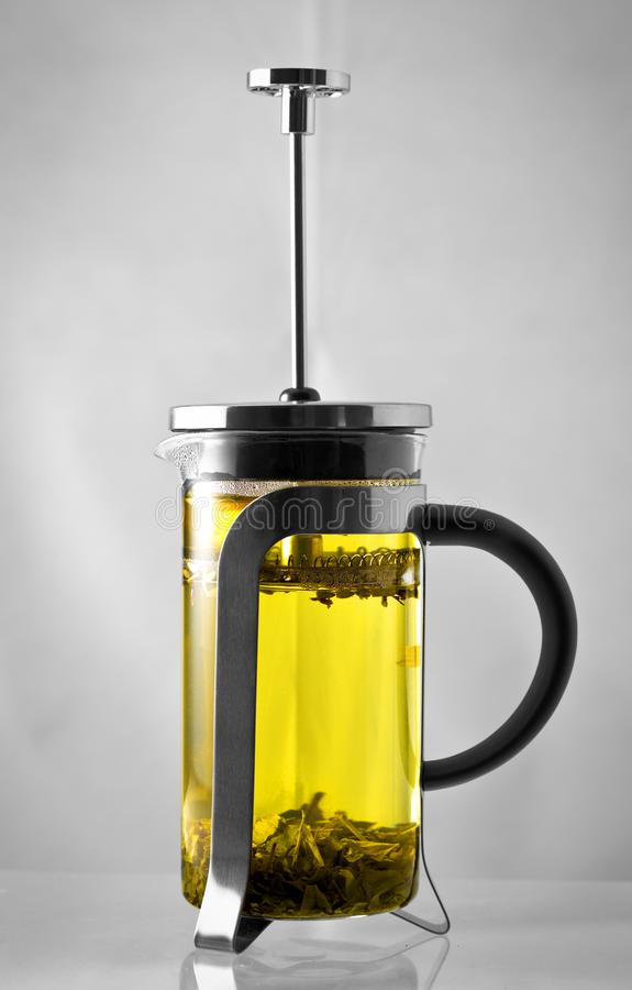 Green tea in a french press stock images