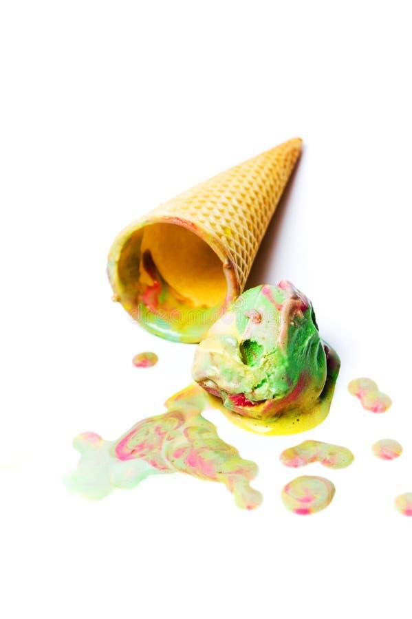 Green tea and fruit ice cream on white stock photos
