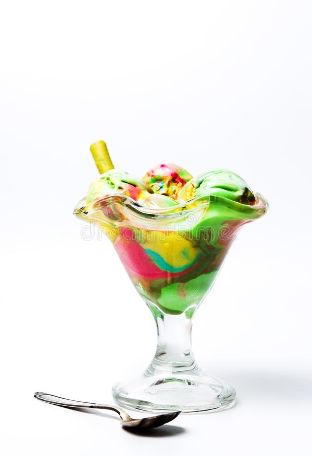 Green tea and fruit ice cream in a cup stock photos
