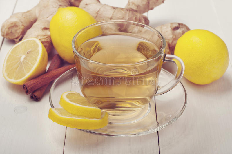Green tea with ginger and lemon royalty free stock photos
