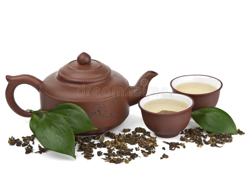 Green tea isolated. Over white royalty free stock images