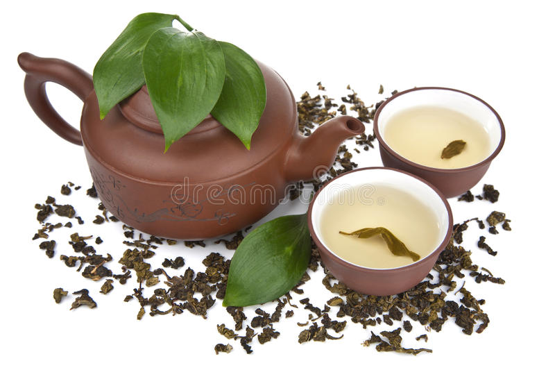 Green tea isolated. Over white royalty free stock photos