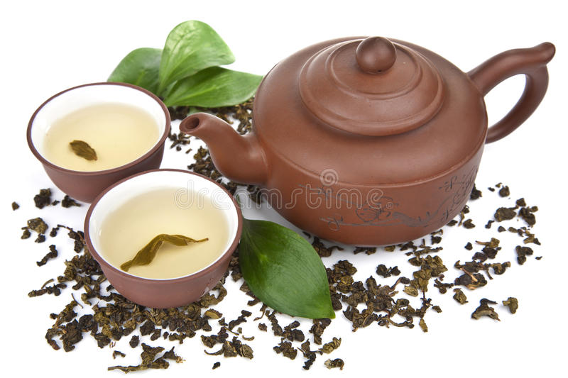 Green tea isolated. Over white stock photography