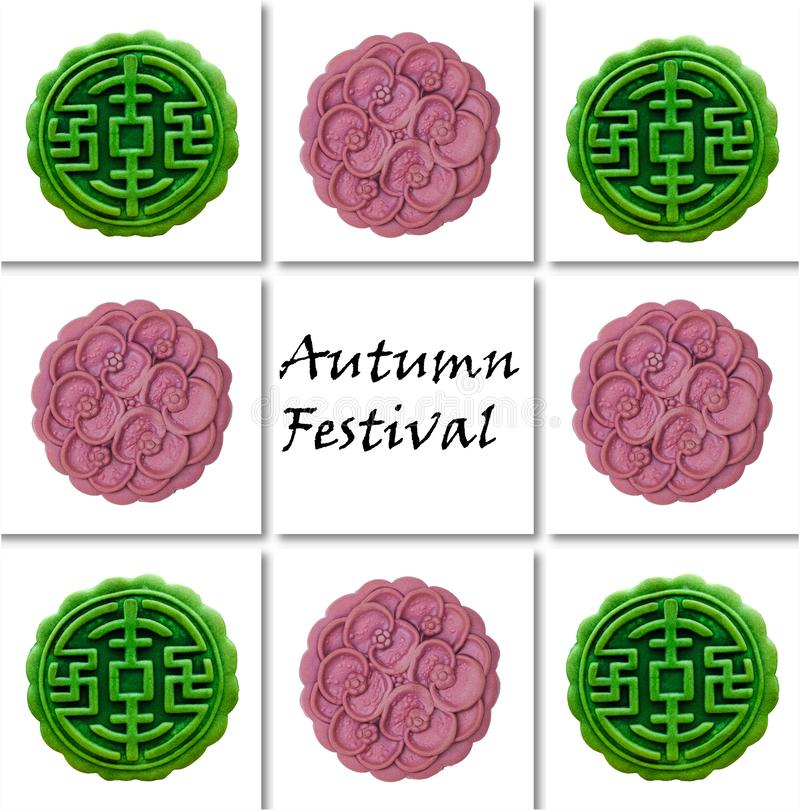 Moon cakes for autumn festival. Green tea and japanese yam moon cakes with texts on white tiles background. Autumn Festival. October fest. Chinese celebration vector illustration
