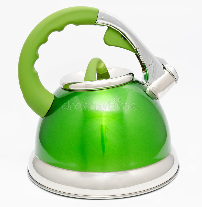 Green tea kettle isolated on white royalty free stock photos