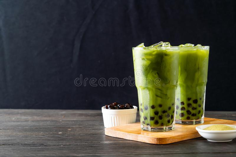 green tea latte with bubble stock photography