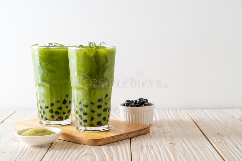 green tea latte with bubble royalty free stock photography