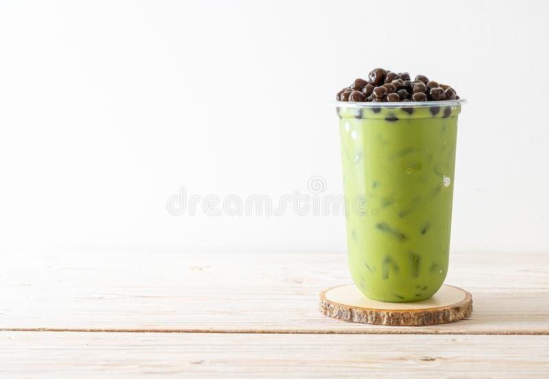 green tea latte with bubble royalty free stock photo