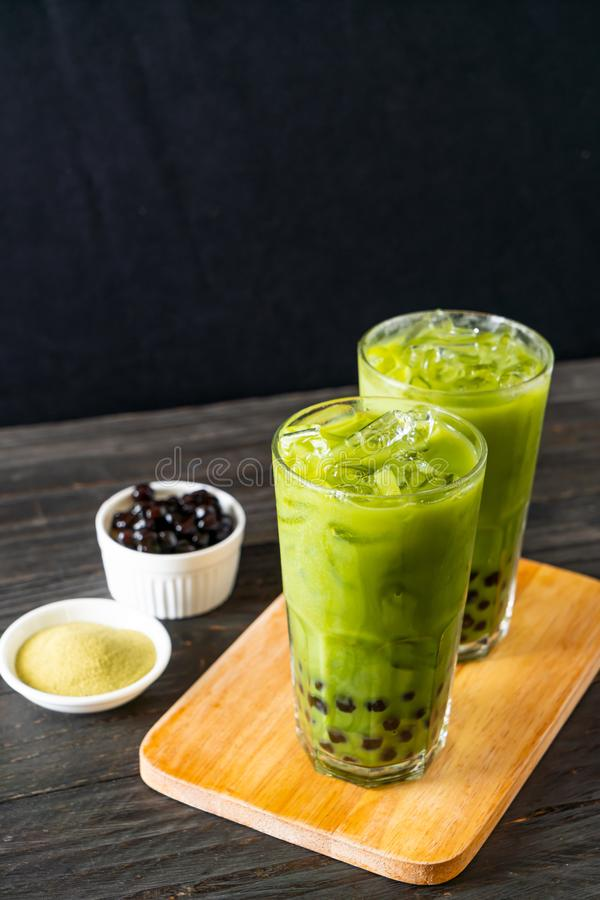 green tea latte with bubble stock image