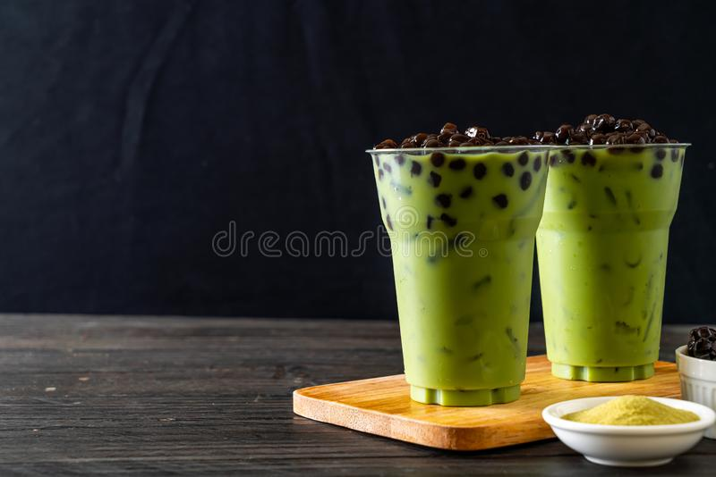 green tea latte with bubble stock photo